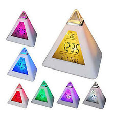 7 Colors Change Digital LCD Thermometer Triangle Pyramid Time LED Alarm Clock