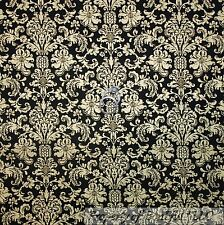 BonEful Fabric BTY Cotton Quilt Black Gold Metallic S Flower DAMASK Antique Xmas