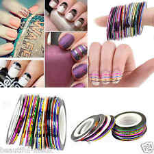 30 COLORS NAIL STICKER ROLLS STRIPING TAPE LINE NAIL ART UV GEL TIPS DIY KIT New