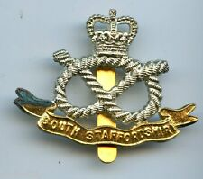 The  South Staffordshire  Queens Crown Regiment Brass Cap Badge