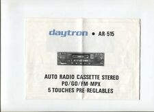N°9540 / dépliant technique autoradio cassette Stéréo DAYTRON AR-515
