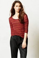 Anthropologie Postmark Reverie Tee striped dot pocket shirt red orange top Mediu