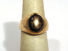 SOLID 14K YELLOW GOLD NATURAL BLACK STAR SAPPHIRE MEN'S RING ~ SIZE 7