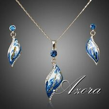 18K Gold Plated Blue Oil Painting Pattern Drop Earrings and Necklace Jewelry Set