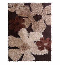 Funky Flowers Brown & Cream Shaggy rug with soft pile 120 x 160cm