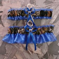 Mossy Oak Royal Blue  Wedding Garter Set Camouflage Camo Deer Hunting Hunter