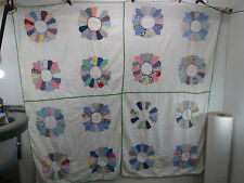"""Vintage 1940's Applique Quilt Top or Table Cloth w/Green Edging  75"""" x 69"""""""