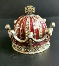 Stunning Crown Trinket Box Encrusted with Tiny Jewels.  Beautiful Gift.