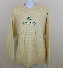 Irish Wool Sweater Connemara Knitwear Ireland Cream Cable Knit Womens 2XL XXL