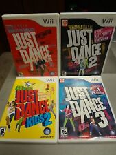 LOT (4) - NINTENDO WII - JUST DANCE - 1 & 2 & 3 / KIDS 2 - VIDEO GAME