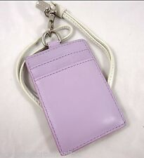 NWT Coach ID Lanyard Lilac Leather Badge Credit Card Holder Pass 60001 White