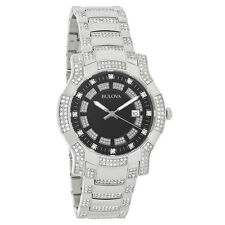 Bulova Mens Crystal Black Dial Stainless Steel Quartz Watch 96B176