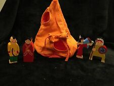 Hand Painted Wooden Toy Figurines Native American Indians with Fabric Teepee