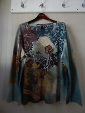 MASSINI BLUE & YELLOW FLORAL EMBELLISHED POLYESTER KNIT TOP SIZE 3X