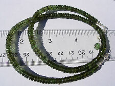 86.9 carats checkered cut beads 5x2mm MOLDAVITE necklace 18 inches $500+ retail