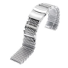 Luxury Watch Band 22mm Solid Link Shark Mesh Stainless Steel Men Silver Strap