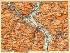 Carta geografica antica SVIZZERA Ragaz dintorni Old Map Switzerland Suisse 1905