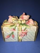 Fitz And Floyd Essentials China Gift Trinket Box Flower Floral Pink Green