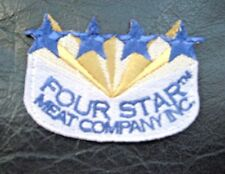 """FOUR STAR MEAT COMPANY EMBROIDERED SEW ON PATCH FOOD ADVERTISING 2 1/2"""" x 2"""""""