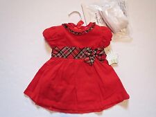 NWT Nursery Rhyme Baby Girl Red Dress Tights Set Christmas Holiday Outfit 3-6 M