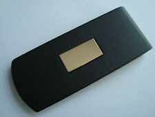 NOS SIMMONS STEEL METAL BLACK PAINTED 14K GOLD INSERT ENGRAVEABLE MONEY CLIP #9