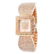 Alias Kim Rose Gold Crystal Square Square Face Case Women Bangle Bracelet Watch