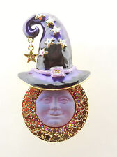 KIRKS FOLLY STELLA MAGIC 20MM SEAVIEW MOON WITCH HAT PIN/PENDANT GT/ RUBY RED