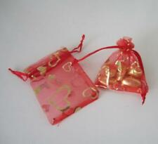 100 Rose Heart Coralline Organza Jewelry Pouch Wedding Party Favor Gift Bags