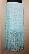 "NEW LACE MAXI CROCHET Women's 3X Plus Belt Skirt MINT Green 22W 24W 41"" LONG"