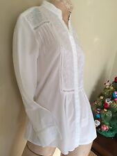 Vintage APRIL CORNELL Ladies Long Sleeve White Eyelet Lace Cotton Blouse Tunic S