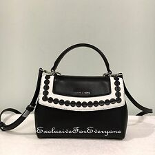 NWT Michael Kors Ava X-Small Leather Black/White Crossbody Bag $228