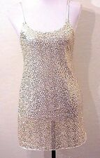 NWOT FREE PEOPLE Gold Sequin Party Slip Dress Holiday Chemise Tunic Tank Top S