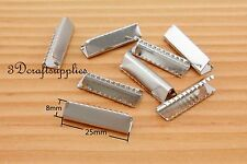 ribbon crimp End Clamp with loop End Beads 14 pieces 25 mm 1 inch silver CK21
