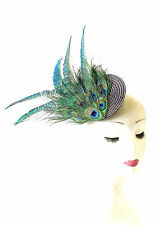 Green Brown Peacock Feather Fascinator Headpiece Races Vintage Clip 1940s 1468