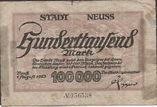 Germany  100,000  Mark   1.8.1923   Circulated Banknote
