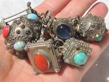 Antique MIDDLE EASTERN 800 Sterling Silver Chunky ETRUSCAN FOB Charm Bracelet