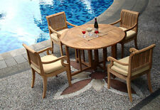 "Giva Grade-A Teak 5 pc Dining 48"" Round Table 4 Arm Chair Set Outdoor New"