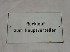 """KUNSTSTOFFSCHILD """" RÜCKLAUF ZUM HAUPTVERTEILER """" KUNSTSTOFF SCHILD"""