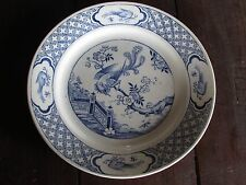 "ANTIQUE DUDSON, WILCOX & TILL-HANLEY-ENGLAND ""VANITY"" PATTERN BLUE & WHITE PLATE"