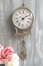 Vintage Style Brushed Silver Pendulum Wall Clock Chic Shabby Antique London 32cm