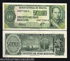 Bolivia 5 on 50000 Pesos Bolivianos P196 1984 Oil Refinery Lopez Unc 10 Billnote