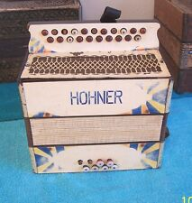 Vintage Hohner 2 row button box Accordion Accordian Germany C/F Blue Yellow Flag