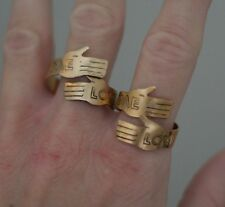 """Vintage """"Love Me"""" Metal Copper Tone Hands Wrap Rings (2) Art Signed Light Weight"""