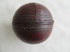 Genuine Vintage/Antique Red Leather Stitched Cricket Ball