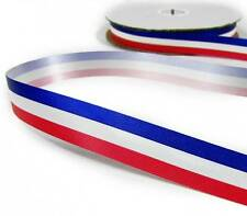 "4 Yd Patriotic Tricolor Red White Blue Stripe Acetate Ribbon 5/8""W"