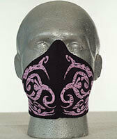 Bandero Womens Motorcycle Face Mask - Pink Tribal Flames Design