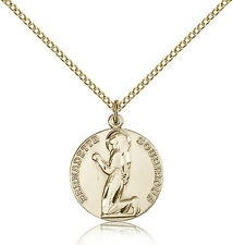 "Saint Bernadette Medal For Women - Gold Filled Necklace On 18"" Chain - 30 Day..."