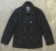 NEW AMERICAN EAGLE AEO NAVY MENS MILITARY PEACOAT COAT JACKET SZ L LARGE