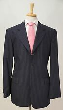 $1605 PAUL SMITH Navy & Electric Blue Striped Wool Dual Vent Suit 40 L
