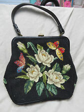 VINTAGE FRENCH BAG SHOP NEEDLEPOINT PURSE,POCKETBOOK,MIAMI BEACH,BUTTERFLY,FLORA